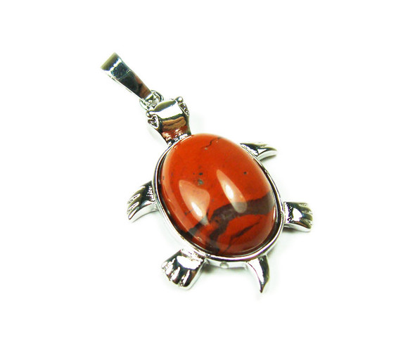 22x30mm Red Jasper Small Turtle Oval Pendant