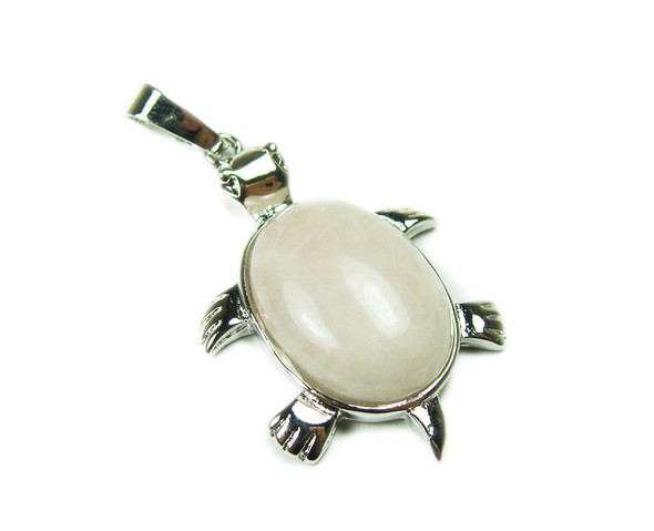 22x30mm Rose Quartz Small Turtle Oval Pendant