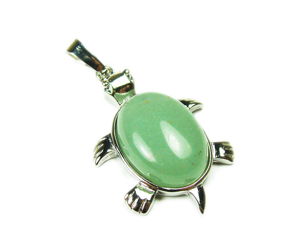 22x30mm Green Aventurine Small Turtle Oval Pendant