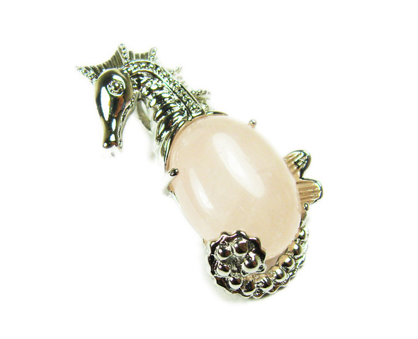 18x33mm Rose quartz sea horse pendant