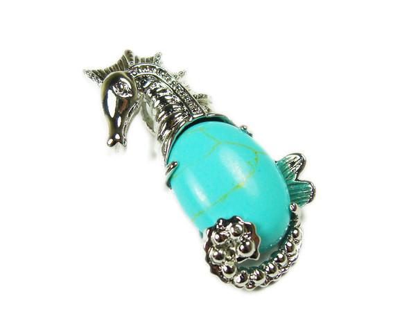 18x33mm Turquoise Howlite Sea Horse Pendant