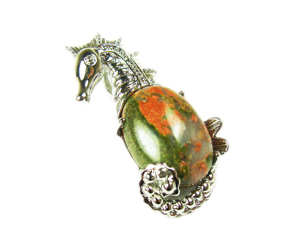 18x33mm Unakite Sea Horse Pendant