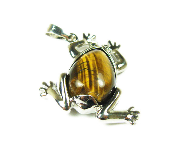 25x35mm Tiger Eye Frog Pendant