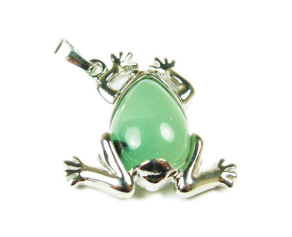 25x35mm Green Aventurine Frog Pendant