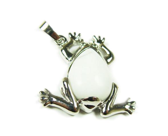 25x35mm White Howlite Frog Pendant