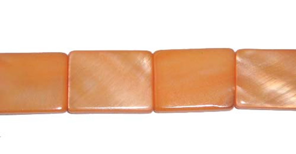 15x20mm Orange Color Mother Of Pearl Rectangle Beads