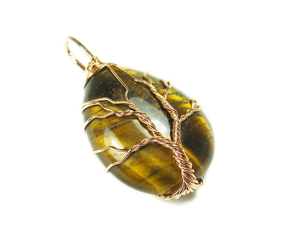 25x35mm Wired Tiger Eye Teardrop Pendant