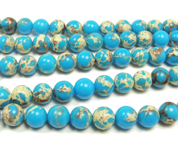 8mm Turquoise Imperial Jasper Round Beads