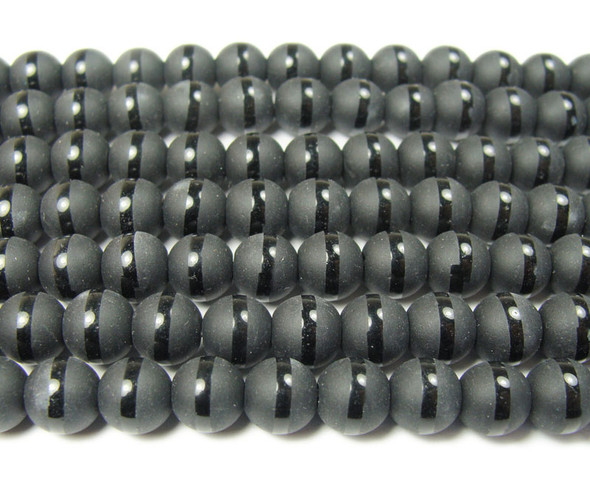 12mm  15.5 inches Black matte Tibetan style line beads