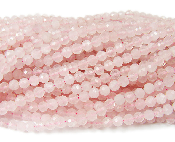 3mm Finely Cut Rose Quartz Round Beads