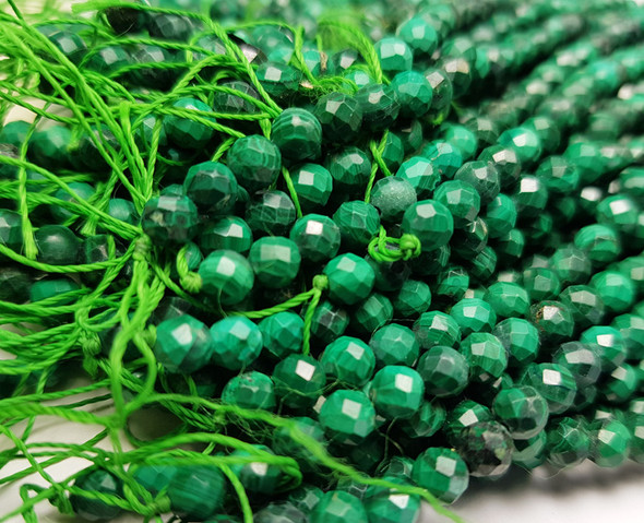4.3mm Finely cut genuine malachite round beads