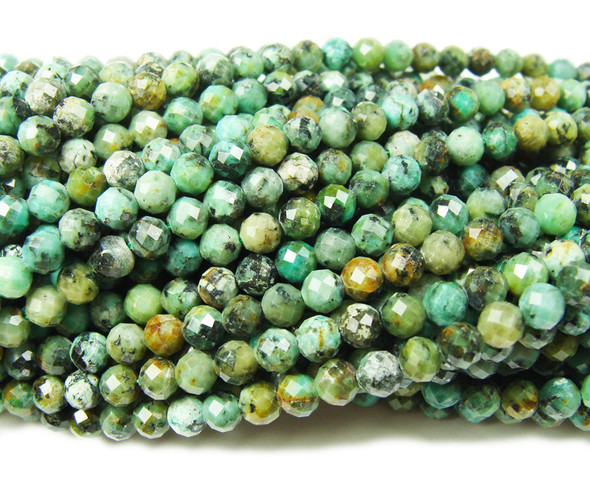 4mm Finely Cut African Turquoise Round Beads