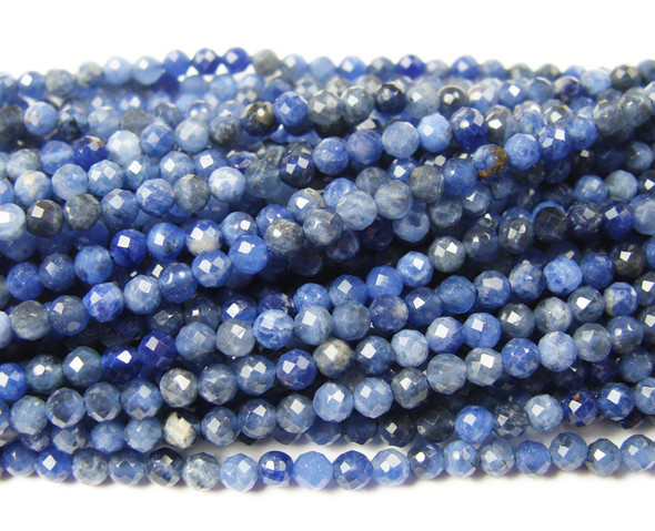 3mm Finely cut sodalite beads