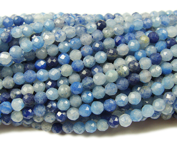 3mm Finely Cut Blue Aventurine Beads
