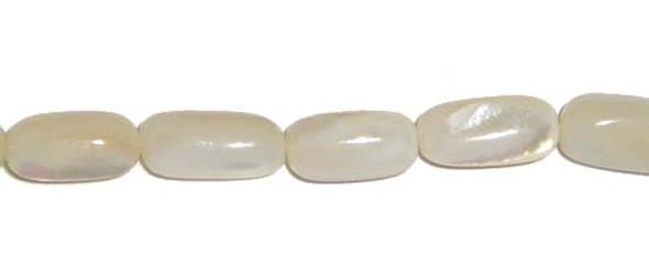 6x11mm 35 Beads White Sea Shell Rice Beads