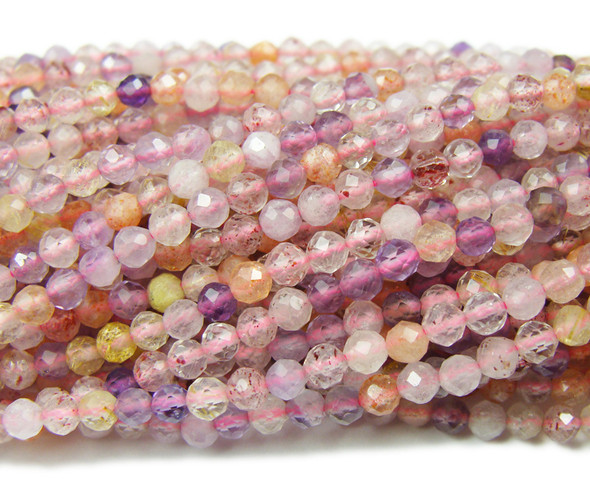3mm Finely Cut Pink Rutilated Quartz Beads