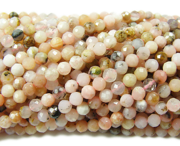 4.3mm Finely Cut Pink Opal Faceted Beads