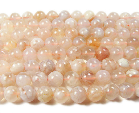 10mm Cherry Blossom Agate Smooth Round Beads