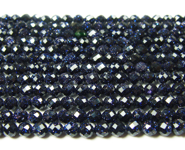 3mm Finely Cut Blue Goldstone Faceted Beads