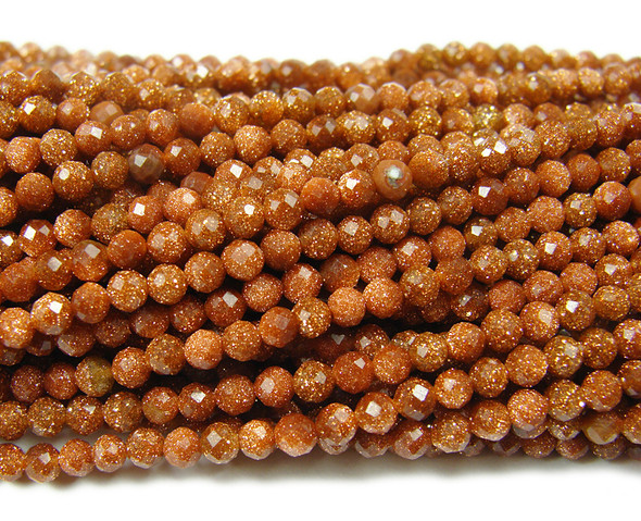 3mm Finely cut brown goldstone faceted beads