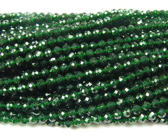 3mm Finely cut green goldstone faceted beads