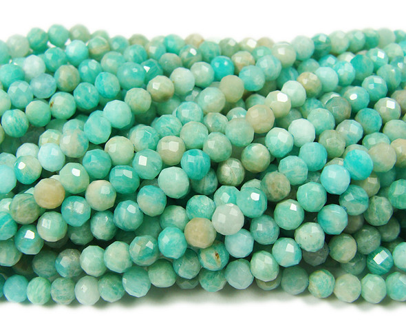 3mm Finely cut Amazonite faceted beads