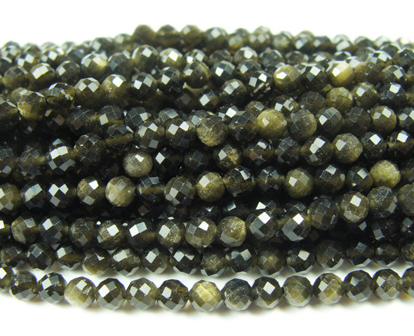 3mm Finely Cut Gold Obsidian Faceted Beads