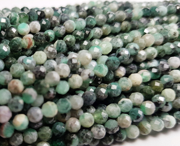 3mm Finely Cut Emerald Faceted Beads