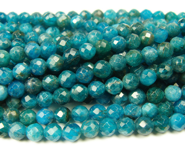 3.5mm Finely cut blue Apatite faceted beads