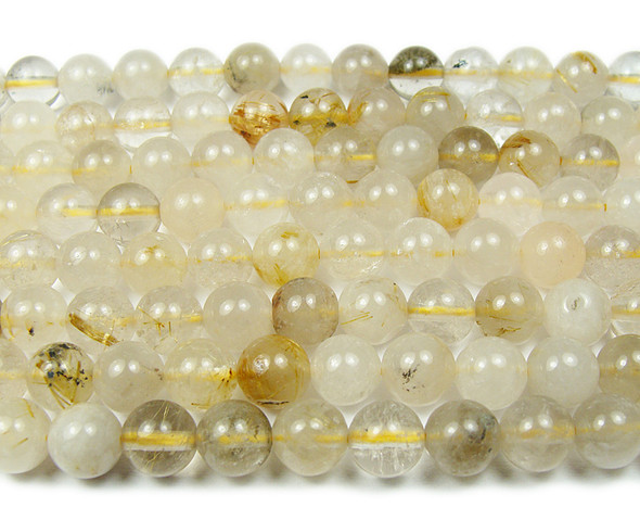 12mm Golden rutilated quartz smooth round beads