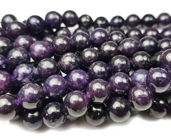 8mm Lepidolite Dark Purple Smooth Round Beads