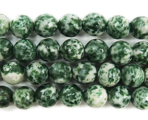 10mm Green spot jasper faceted round beads