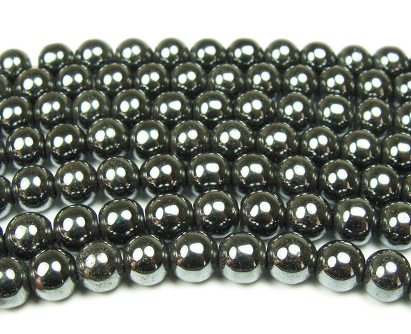 8mm Iron gray hematite smooth round beads