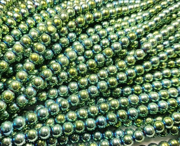 6mm  Green hematite round beads