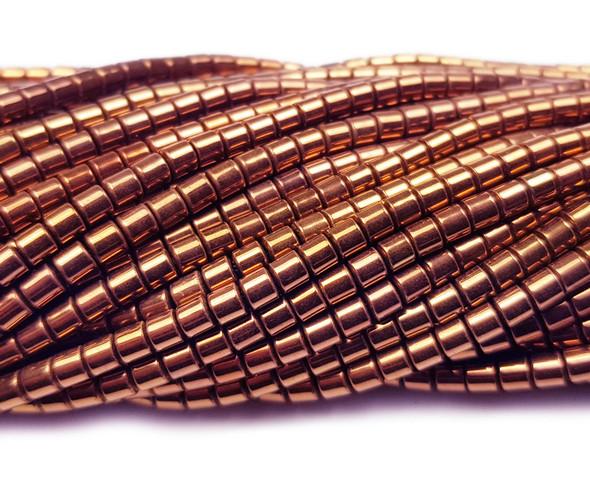 3x3mm Chestnut Brown Hematite Small Tube Beads