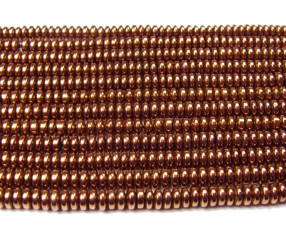 2x4mm Hematite rusty brown rondelle beads