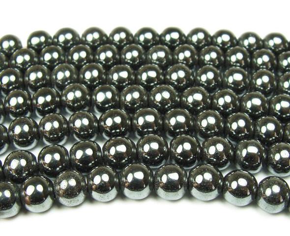 14mm Iron Gray Hematite Smooth Round Beads