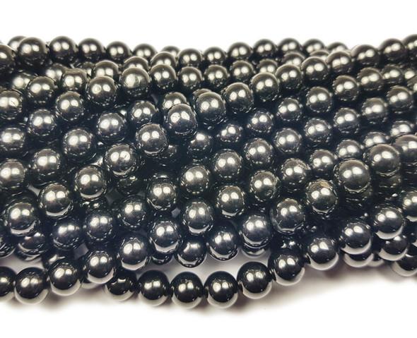 8mm Black Jet (Coal Quartz) Smooth Round Beads