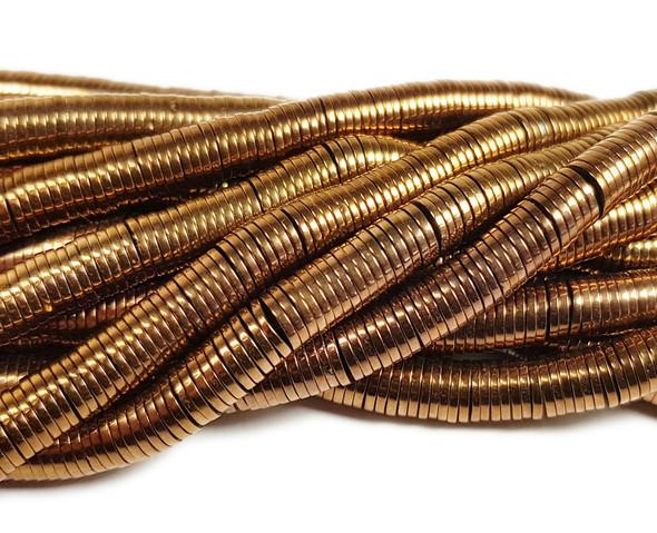1x6mm brown hematite heishi rondelle beads