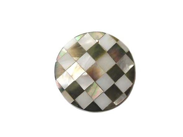 37mm Mosaic shell round pendant