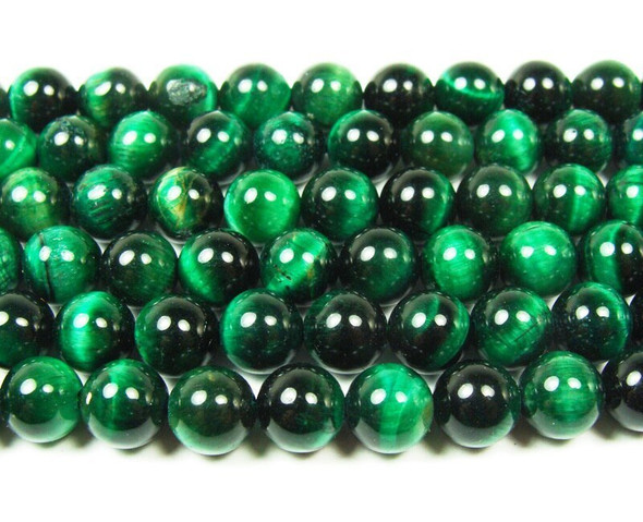 14mm 15.5 Inches Green Tiger Eye Round Beads