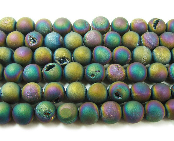 6mm  15 inches Rainbow electroplated druzy agate round beads