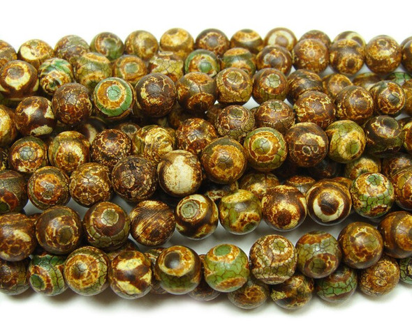 12mm Antiqued Greenish Brown Tibetan Style Third Eye Beads