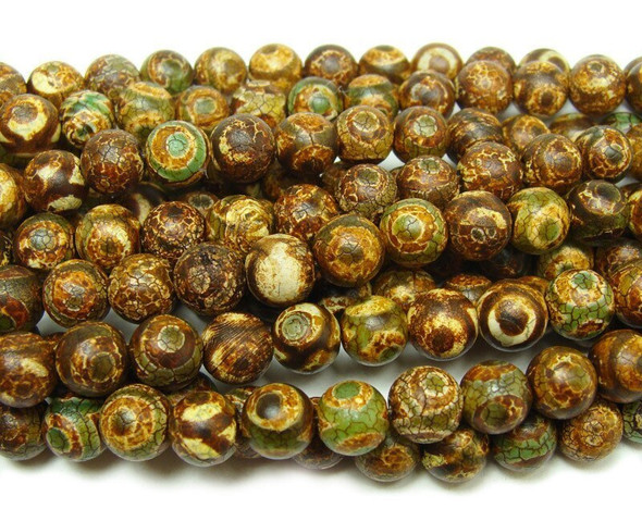 14mm Antiqued Brown Tibetan Style Third Eye Beads