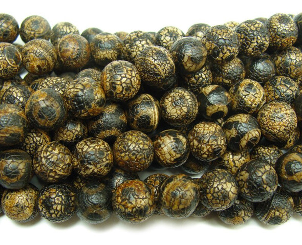 14mm Antiqued black Tibetan style agate third eye beads