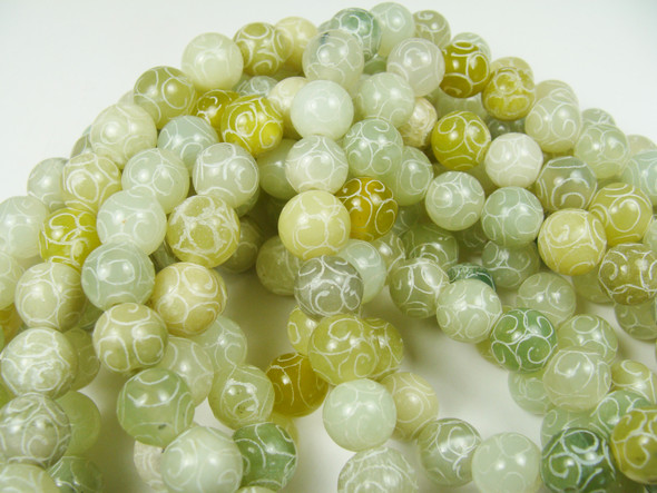 10mm Antiqued Carved Jade Round Beads