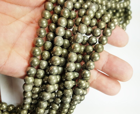 10mm Natural pyrite smooth round beads