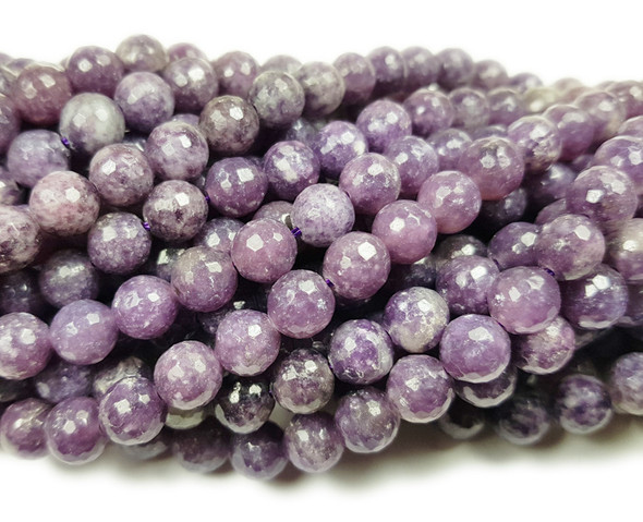 6mm Lepidolite Purple Faceted Round Beads