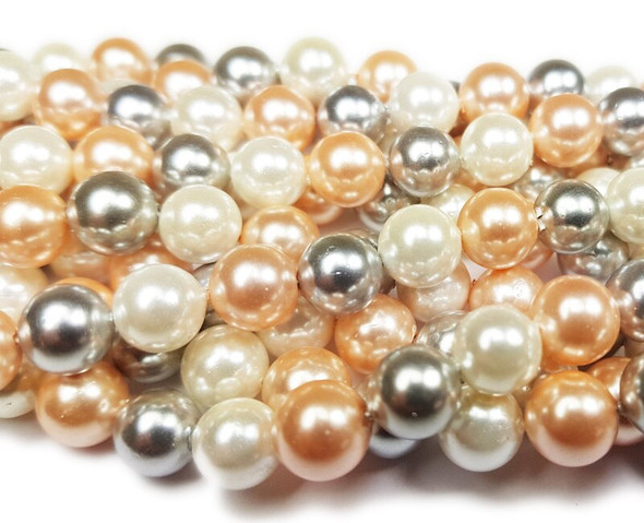 8mm  Silver, pink, and white shell pearl round beads