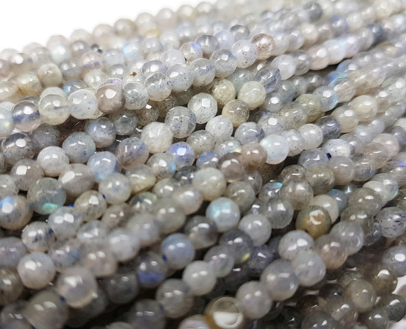 4mm Labradorite Faceted Round Beads